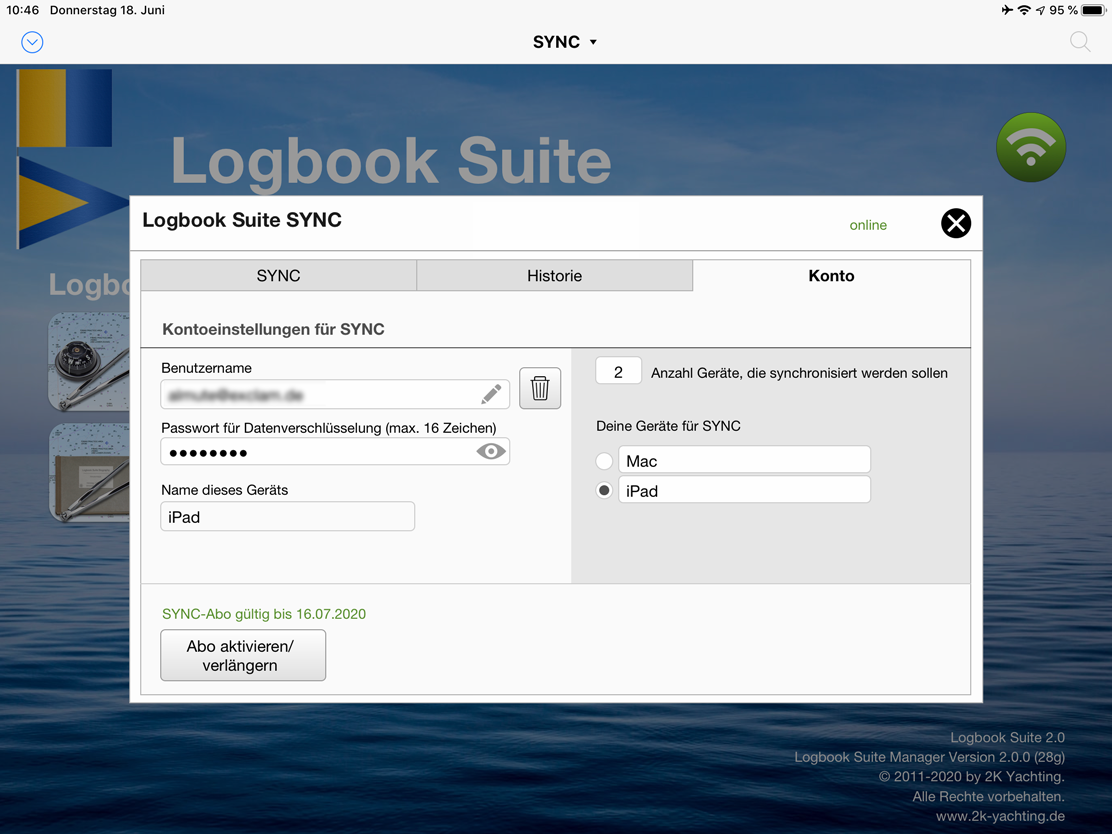 Logbook Suite, Logbook Suite Manager, Dialog SYNC Konto