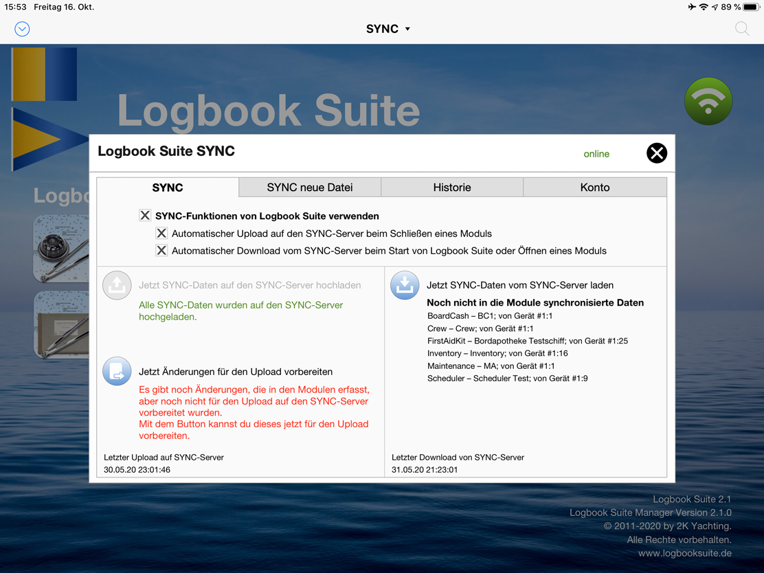 Logbook Suite, Logbook Suite Manager Dialog SYNC
