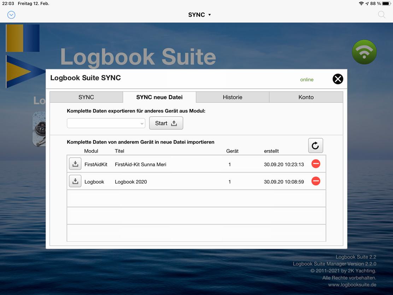 Mit der Funktion »SYNC neue Datei« werden sich alle Daten einer bereits vorhandenen Moduldatei auf den SYNC-Server laden. So lässt sich jederzeit der komplette aktuelle Datenbestand auf andere Geräte übertragen.