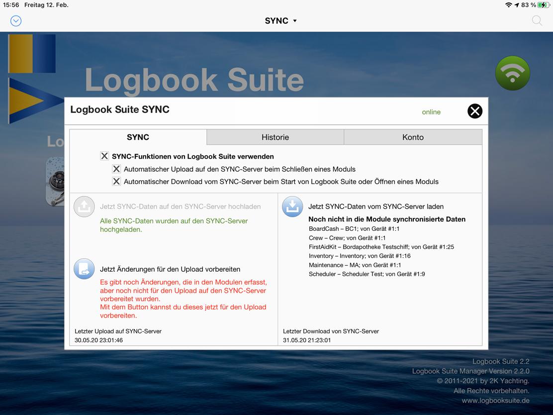 In den SYNC-Einstellungen im Logbook Suite Manager wird die SYNC-Funktion für die gesamte Logbook Suite aktiviert und festgelegt, wann Daten synchronisiert werden sollen. Nachträgliche Up- und Downloads können hier ausgeführt werden.